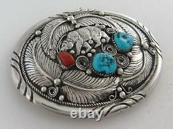 Sterling Silver Turquoise & Coral Ornate Applique & Bear Western Belt Buckle