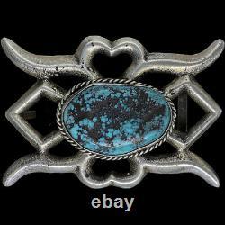 Sterling Silver Turquoise Native American Indian Art Vintage Belt Buckle 49g