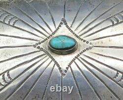 Sterling Silver Turquoise Stone Southwest Signed AB Vintage Belt Buckle