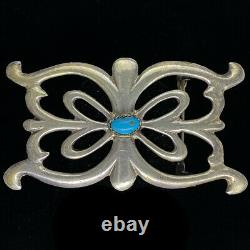 Sterling Silver Turquoise Western Cowboy Cowgirl Tribal 80s Vintage Belt Buckle