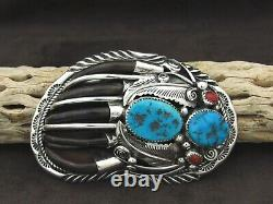 Sterling Silver Turquoise and Coral Bear Paw Belt Buckle