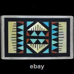 Sterling Silver Zuni Native American Turquoise Handmade 90s Vtg Belt Buckle