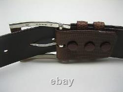 Sterling Silver buckle 2 loops & tip set w Lizard-1-1/2 belt size 26 to 46 USA