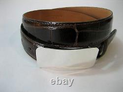 Sterling silver. 51 grams polished shiny engravible buckle for 1-1/4 belt strap