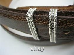 Sterling silver buckle with 30mm Genuine Ostrich belt size 26 to 46 made in U. S. A