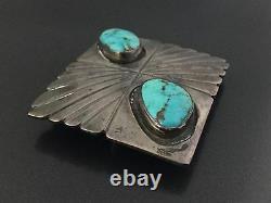 Substantial Vintage Southwestern Dual Turquoise Sterling Silver Belt Buckle