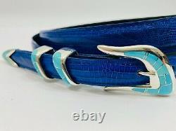 Sunbursts Handcrafts Sterling Silver. 925 Inlay Turquoise Ranger Belt Buckle Set