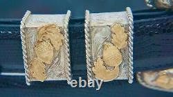 Sunset Trails Ranger Belt Buckle Sterling Silver 14k Gold Acorns Lizard 42