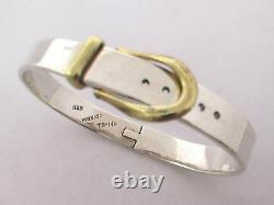 Taxco, Mexican 925 Sterling Silver Belt Buckle Bangle Bracelet. 39g, 7