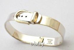 Taxco, Mexican 925 Sterling Silver Belt Buckle Bangle Bracelet. 46-50g, 6.7-7.5
