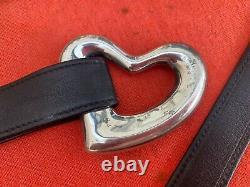 Tiffany & Co. Elsa Peretti Open Heart Sterling Silver Buckle Leather Belt