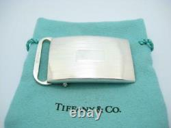 Tiffany & Co. Sterling Silver Engine-Turned Slide Belt Buckle Pouch A