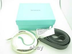 Tiffany & Co. Sterling Silver Leather Peretti Eternal Circle Belt Buckle A