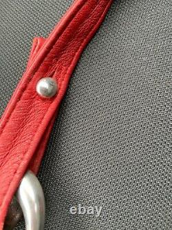 Tiffany & Co Vintage 1975 ELSA PERETTI Sterling Silver Buckle Red Leather Belt