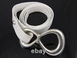 Tiffany & Co Vintage 1975 ELSA PERETTI Sterling Silver Buckle White Leather Belt