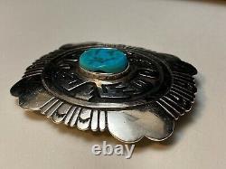 Tommy Singer Navajo Sterling Silver Overlay Turquoise Western Belt Buckle
