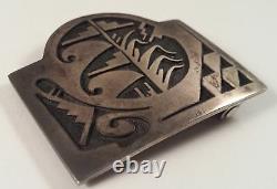 Trinidad Lucas Vintage Hopi Corn Wave Snowcloud Sterling Silver Buckle Belt