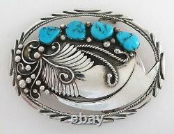 Unique Sterling Silver & Turquoise Ornate Cutout Western Belt Buckle