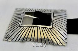 VINCENT JAMES PLATERO Navajo 13 stamped pc CONCHO BELT buckle Sterling Silver