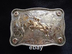 VOGT Horse Rider Sterling Silver, 10k Gold with Rubys Belt Buckle