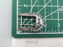 VTG Navajo Sterling Silver Turquoise Petit Point Belt Buckle 12.8g #ybp