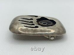 VTG SIGNED OLD PAWN NAVAJO BEAR PAW ONYX STERLING SILVER BELT BUCKLE 31.4g #bcb
