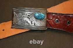 Vidal Aragon Kewa Sterling Silver 14K Storyteller Turquoise Belt Buckle With Belt