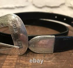 Vintage 1991 Butler And Wilson Sterling Silver Buckle And Leather Belt