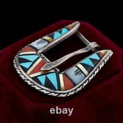 Vintage 925 Sterling Silver Native Zuni Ranger Turquoise Inlay Belt Buckle 12.5g