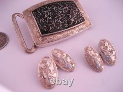 Vintage Art Deco Japanese 950 Sterling Silver Enamel Cufflink Belt Buckle Japan