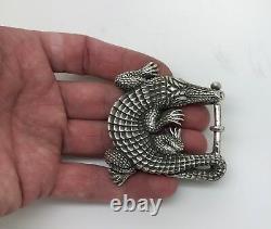 Vintage B. Kieselstein-Cord Sterling Silver Alligator Belt Buckle