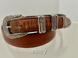 Vintage Chacon 4 Pc Sterling Silver Buckle Bison Leather Belt Sz 36