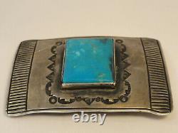Vintage Chimney Butte Belt Buckle Sterling& Turquoise Signed Chimney Butte Zd2-9