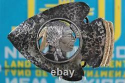 Vintage Cowboy Sterling Silver & 14 kt Gold Trophy Belt Buckle