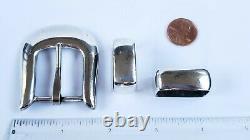 Vintage Douglas Magnus Heartline Sterling Silver Belt Buckle Set