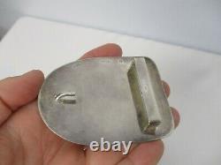 Vintage Handmade Signed Artisan Er Sterling Silver Polished Agate Belt Buckle