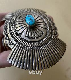 Vintage Henry Morgan Sterling Silver & Turquoise Navajo Belt Buckle 83.5g