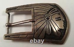Vintage Hopi Native Indian Head Sterling Silver Belt Buckle