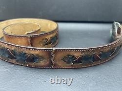 Vintage JM Navajo Turquoise Sterling Silver Belt Buckle Signed JM w Leather Belt