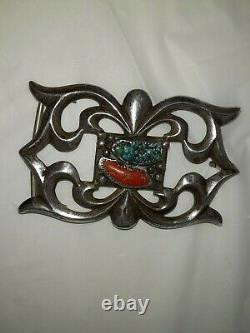 Vintage NAVAJO Sand Cast Sterling Silver Heavy CORAL & TURQUOISE BELT BUCKLE