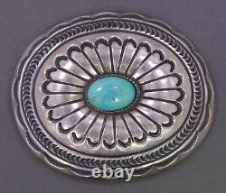Vintage Native American Navajo CARSON B. Sterling Silver & Turquoise Belt Buckle