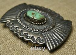 Vintage Native American Navajo Sterling Silver Turquoise Belt Buckle