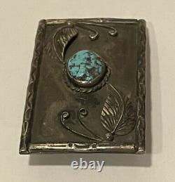 Vintage Native American Navajo Sterling Silver Turquoise Belt Buckle Signed SSS