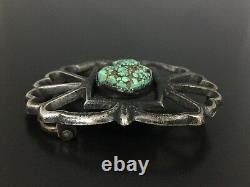 Vintage Native Indian Sand Cast Turquoise Sterling Silver Belt Buckle