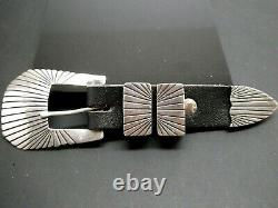 Vintage Navajo Anderson Parkett 4 Piece Sterling Silver Ranger Belt Buckle Set
