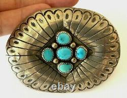 Vintage Navajo Designer 5 Turquoise Sterling Silver 925 Belt Buckle Patina