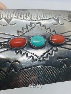 Vintage Navajo Native American Sterling Silver Coral & Turquoise Belt Buckle