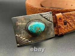 Vintage Navajo Native Indian Turquoise Sterling Silver Belt Buckle