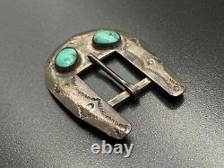 Vintage Navajo Native Indian Turquoise Sterling Silver Stampwork Belt Buckle
