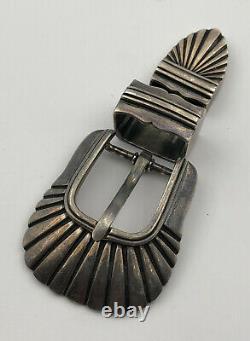 Vintage Navajo Sterling Silver Stamped Ranger Belt Buckle 3 Piece Set